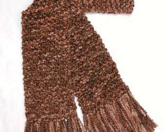 Brown Scarf, Long Chunky Knit Scarf, Men or Women Winter Scarf, Cinnamon Brown Scarf, Knitted Scarf