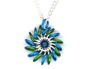 Pendant Blue and Green with Silver Chain Necklace