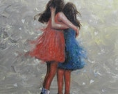 Sisters Hugging Art Print two sisters girls room art paintings,  sisters wall art, loving sisters, two girls, best friends, Vickie Wade Art