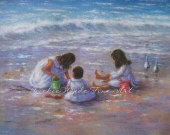 Three Beach Girls Art Print, beach children paintings, three beach sisters, three brunette girls,beach wall decor, shelling, Vickie Wade art