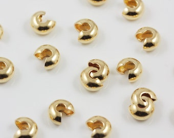 Gold plated 4mm crimp covers (100)
