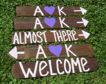 5 wedding signs reception decorations RUSTIC Wedding outdoor wooden country w/ Stakes custom personalized signage