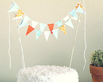 Jubilee Blue Green and Orange Fabric Bunting Cake Topper Decoration / Vintage Circus Style
