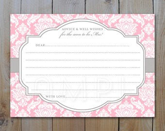 Bridal Shower Advice Card / Pink and Grey Damask / Instant Download / PRINTABLE / 12236