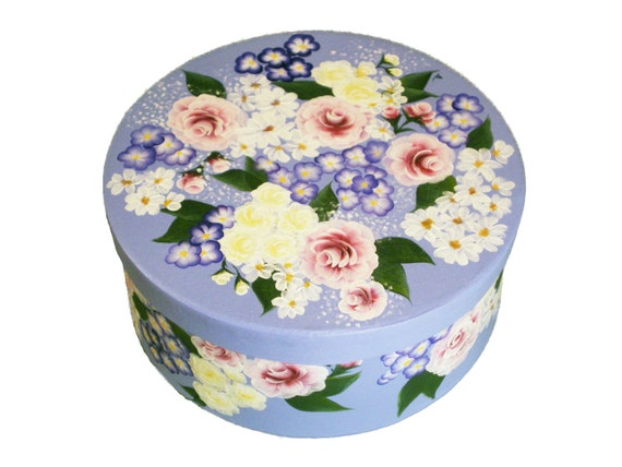 """Hand Painted Floral Hat Box - Pink Blue Yellow Roses and Daisies, 7.5"""" - Painted Storage Box Jewelry Box Keepsake Box  Bedroom Decor"""