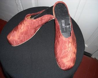 Amber Silk Brocade Slides