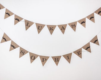 FREE SHIPPING - Custom Mustache kraft banner - baby shower, birthday mustache bash party