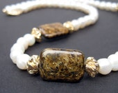 Fresh water pearl necklace with Bronzite & gold-filled accents, Brown bronzite necklace
