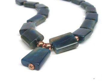 Blue agate necklace with copper accents & pendant, Blue stone necklace, Copper necklace
