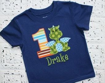 Little Green and Blue Dragon Birthday Shirt OR bodysuit - FREE PERSONALIZATION-Your Choice of Letters or Numbers