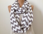 Chevron Infinity Scarf in Gray and White