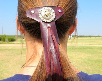real leather and beads pony tail holders hand made