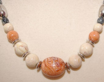 Peach and Cream Beaded Necklace, Marbelized, Chunky Style, Vintage, 1970's