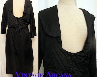 SALE WAS 95.00 Vintage 1901-1910 Edwardian Black Satin Dress