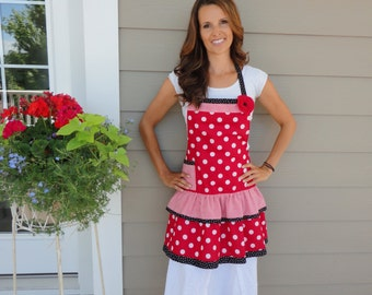Geraniums ~ Ellie Style ~ Double Ruffle Women's Red Full Apron ~ 4RetroSisters