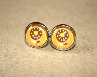 Brown Flower Stud Earrings, Silver Ear Posts
