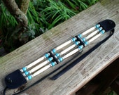 native american style choker, bone hair pipe, sky blue, glass tile beads, black leather, white bone, silver corrugated beads