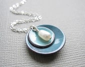 Blue Enamel Modern Minimalist Necklace White Pearl Sterling Silver
