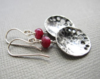 Blood Moon Sterling Silver Red Ruby Earrings