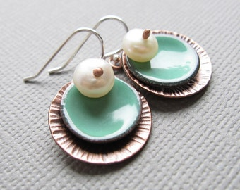 Turquoise Mint Green Enamel Copper Circle Earrings White Pearl
