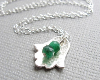 Hamsa Necklace Tiny Green Emerald Sterling Silver Jewish Judaica