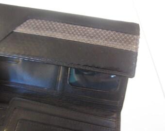 Vintage wallet, snakeskin wallet, reptile Wallet, Black leather wallet