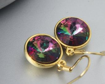 Swarovski Rivoli Earrings - Gold Dangle Earrings - Everyday Earrings - Gold Plated French Wire Earrings - Simple Earrings - Crystal Earrings