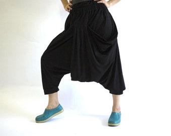 Funky Harem Boho Drop Crotch Black Cotton Jersey Pants With Front Pocket And Elastic Waist