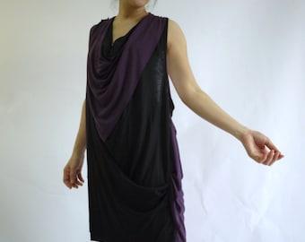 Sassy Dress...Sleeveless Plum & Black Stretch Cotton Mix Polyester Sundress