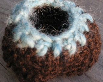 Crochet Basket Natural Earthy Brown Turquoise