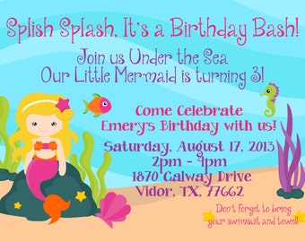 Mermaid Custom Invitation Pool Party for Girl Splish Splash It's a Birthday Bash Swim Party 5x7 JPEG or PDF Digital File for e-mail or print