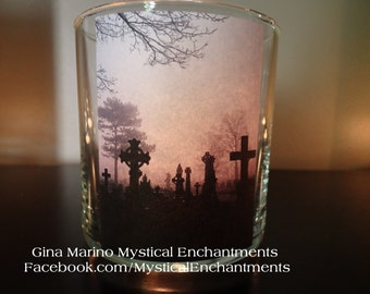 Halloween CEMETERY votive candle holder