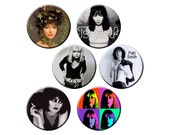 "Indie Women Badge Pack #6 - Indie Band Rocker Chicks and Female Artists - Six 1.25"" Indie Pinback Buttons or Pins"
