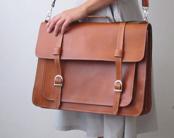 Messenger bag cowhide leather satchel (Ready to Ship)
