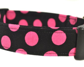 Minnie - Pink and Black Polka Dot Dog Collar