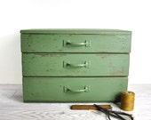 Vintage Painted Wood Cabinet with Three Drawers / Industrial Storage