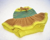 Hand Knitted Wool Diaper Cover Skirt Baby Wool Diaper Cover Wool Diaper Soaker  Wool Nappy Cover  size Small  Nb - 6 months