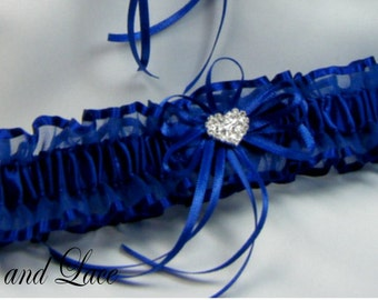 Prom Garter RHINESTONE HEART Wedding garter Royal Blue Garter toss