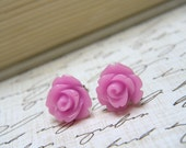 Lilac Purple Flower Earrings, Lilac Rose Earrings, Stud Earrings, Bridesmaid Jewelry, Vintage Style Earrings, Surgical Steel