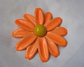 Huge vintage orange enamel flower pin brooch with yellow center