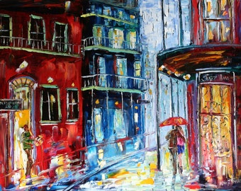 """New Orleans French Quarter Rain 24"""" x 30"""" Giclee Print on canvas made from image of past oil painting by Karen Tarlton fine art"""