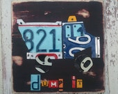 License Plate Art - Dump Truck Work Dirty Transportation - Recycled Art Company - Nursery Playroom Baby Shower  - Upcycled Artwork