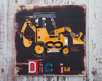 License Plate Art - Dig It Back Hoe Backhoe Tractor Transportation Truck - Recycled Art Company - Salvaged Wood - Upcycled Artwork