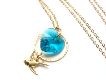 Teal Heart Necklace With Swarovski Heart And Gold Bird - Turquoise - Summer Sparrow, BOXING DAY SALE