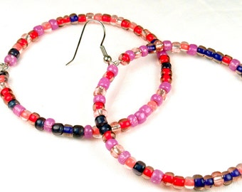 Earrings Pink Purple Red, Beaded Hoop Earrings, Gifts for Teens Best Friend, Presents for Birthdays Anniversary for Her, Gifts from Friends