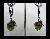 Acorn Earring, Oak Leaf, Olivine Green, Mocca Brown, Copper, Czech Glass, Swarovski Crystal, Dangle Earrings, Leverback Earrings, Jewelry