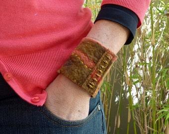 Wrist cuff - woodland- beaded bracelet cuff - wool felt
