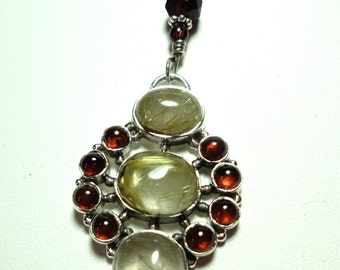 Red Garnet and Rutilated Quartz in Sterling Pendant with Garnet Necklace and Sterling