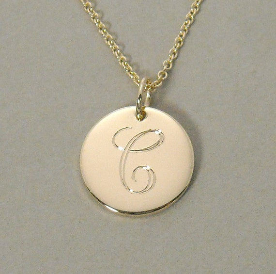 14ky gold personalized initial monogram pendant by gaudybaubles