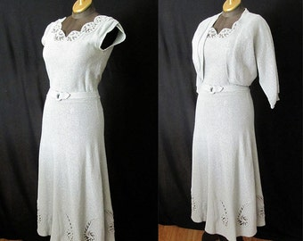 "Beautiful 1950's Lurex  knit dress  blue and silver w/ matching bolero by "" Snyderknit California""  Rockabilly  Pinup  Hourglass Size-Medium"